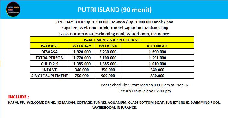 Paket Wisata Pulau Resort Pulau Putri Kepulauan Seribu