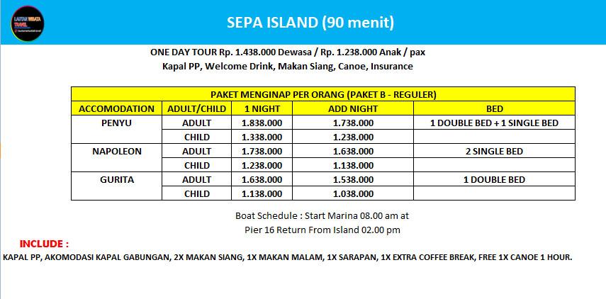Paket Wisata Pulau Resort Pulau Sepa Kepulauan Seribu